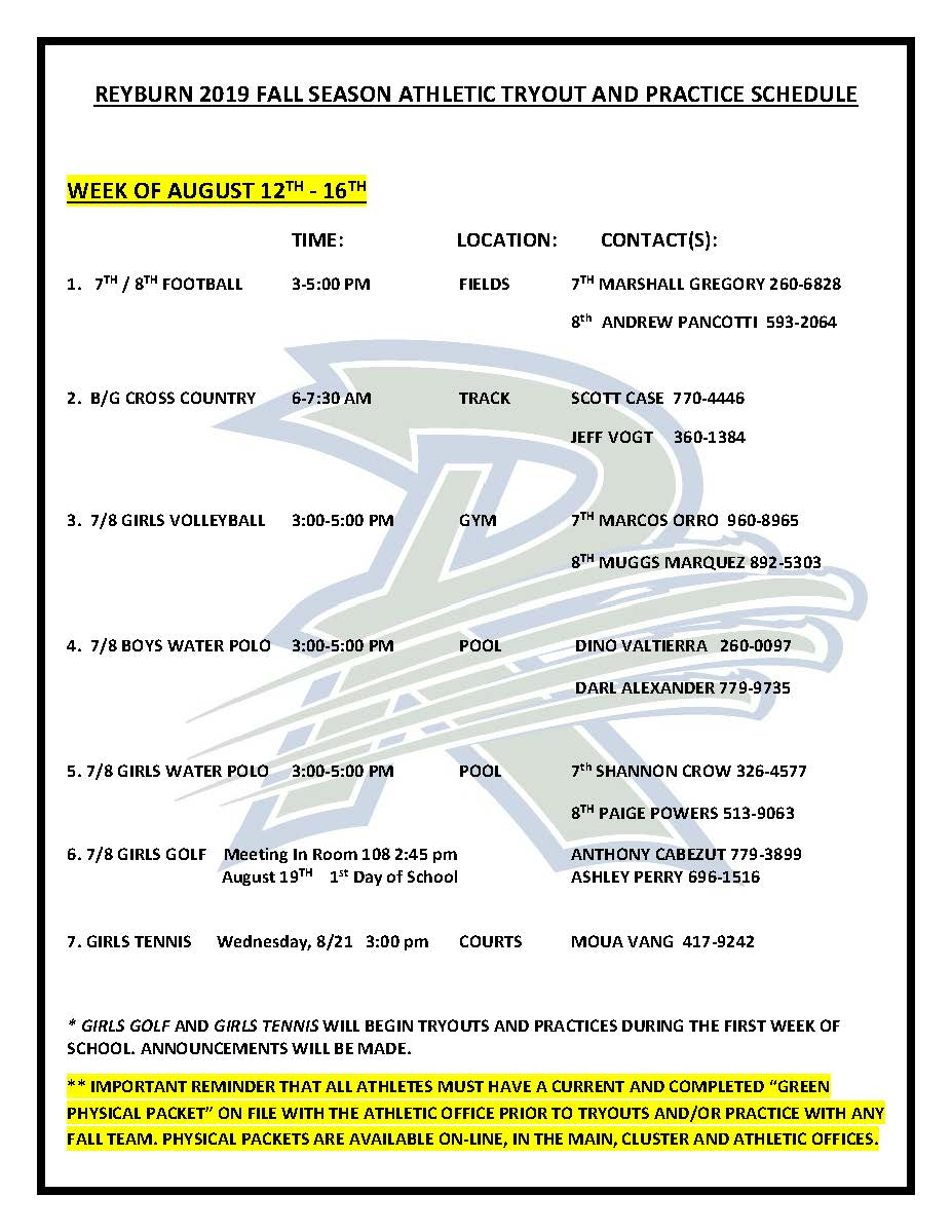 Practice and Tryout Schedule 2019 - Fall