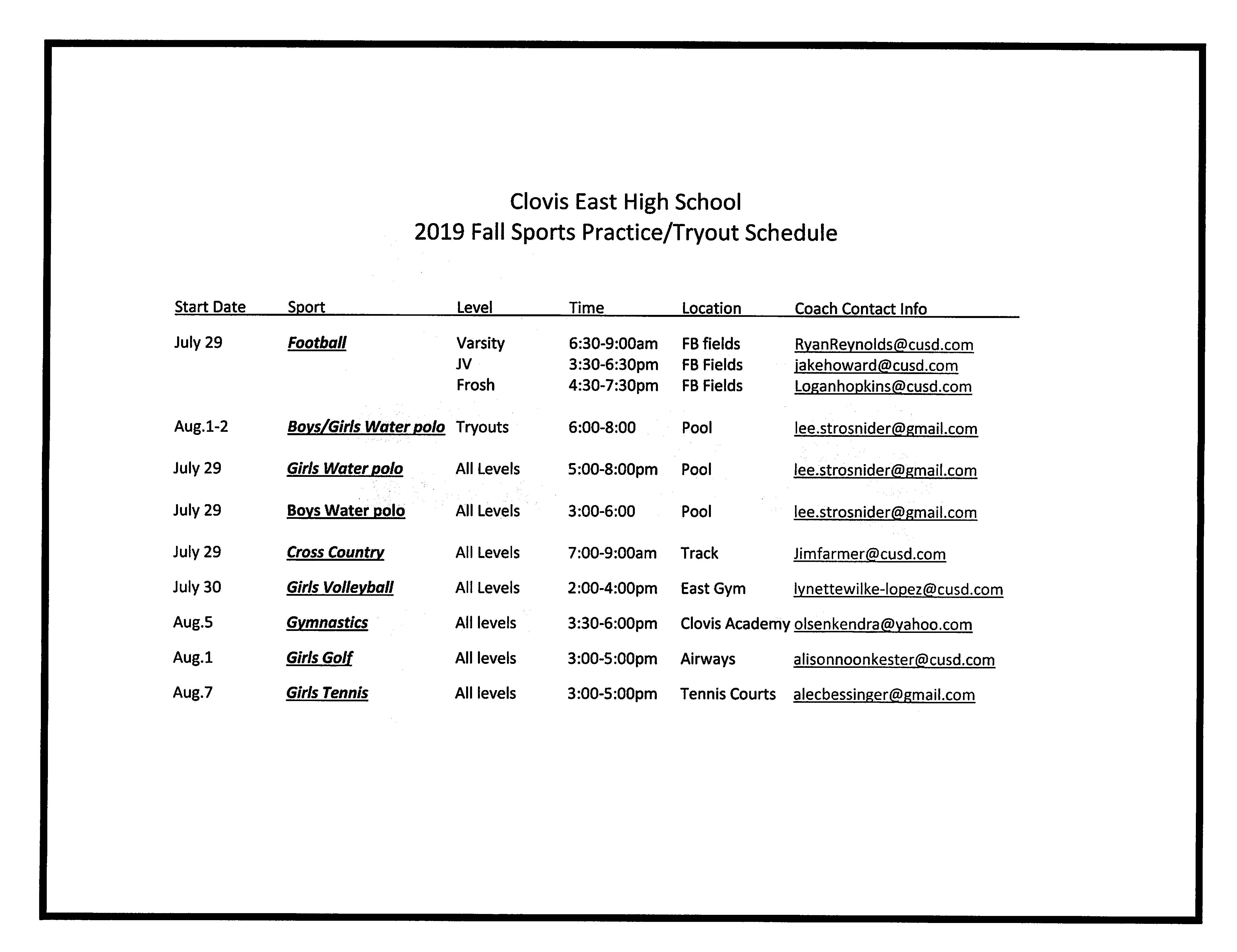 2019 Fall Sports Practice/Tryout Schedule
